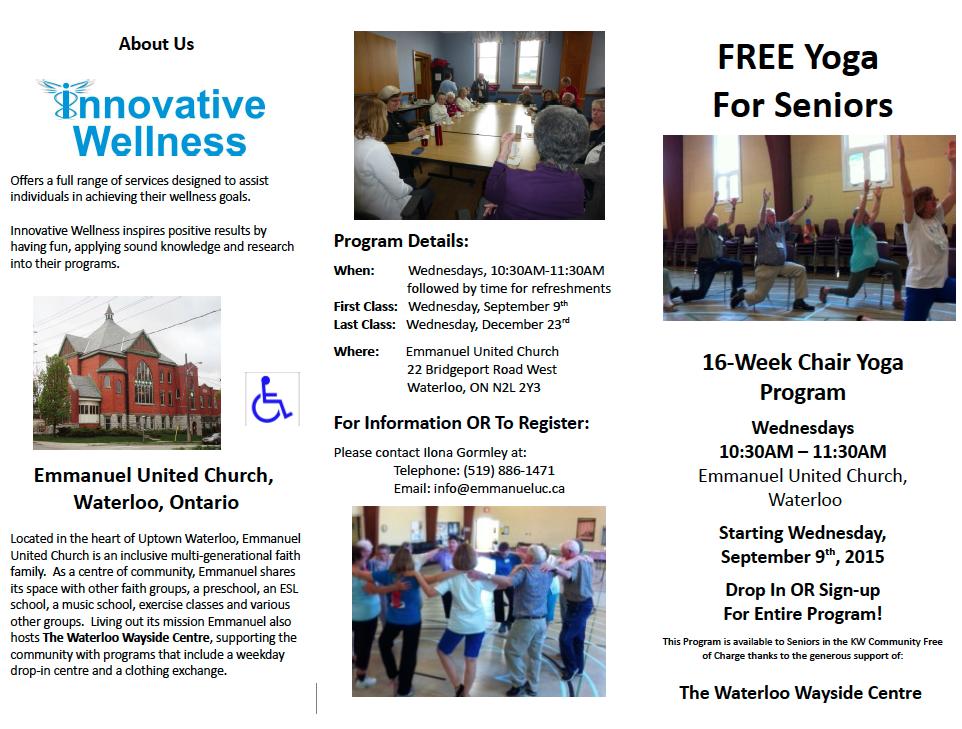 Seniors Chair Yoga Fall 2015 brochure