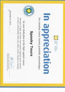 2015 Spooky Tours Cdn Cancer appreciation certificate