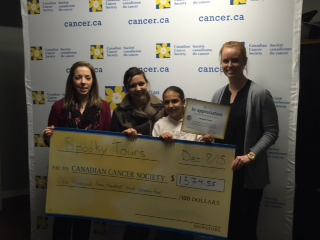 2015 Spooky Tours giving $1,374.55 big cheque at Canadian Cancer Society