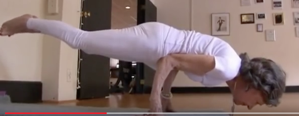 93 year old yoga instructor-peacock pose